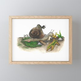 Little Worlds: Snail and Cricket Framed Mini Art Print