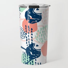 Abstract coral mint navy modern color palette basic canvas art for home Travel Mug