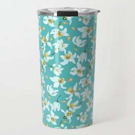 Citrus blooming tiny flowers in a sky blue backgrund Travel Mug