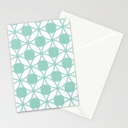 Geometric Orbital Circles In Pale Spring Fresh Green & White Stationery Cards