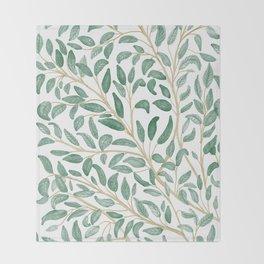 Green Leaf Pattern Throw Blanket