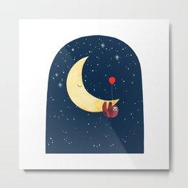 Sloth with the Moon Metal Print