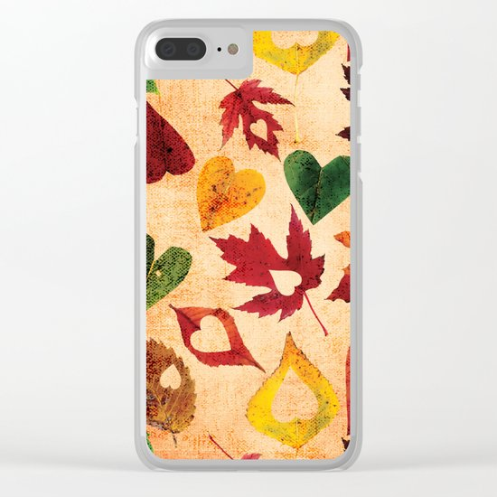 Happy autumn- hearts and leaves pattern Clear iPhone Case