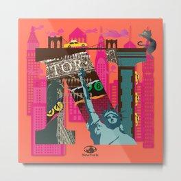 Mews in NewYork (Typography) Metal Print