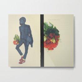 Beating Hearts Flattened In Books Metal Print