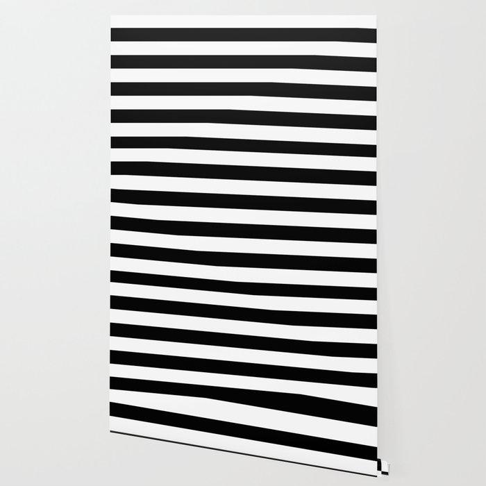 Stripe Black & White Horizontal Wallpaper