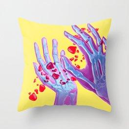 Skeleton hands Throw Pillow