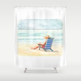 Lady Reading on Beach Shower Curtain