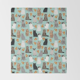 Cats with Pizza slices cheesy food funny cat lover gifts by pet friendly pet portraits Throw Blanket