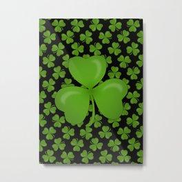 Green Irish Shamrocks Pattern Metal Print