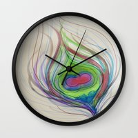 peacock feather Wall Clocks featuring Peacock Feather by AriesArtNW.com