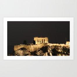 Nighttime Falls on the Acropolis Art Print