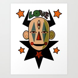 Alien Love Clown 666 Art Print