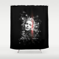 jennifer lawrence Shower Curtains featuring Jennifer Lawrence III by Rene Alberto