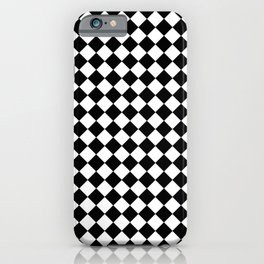 VERY SMALL BLACK AND WHITE HARLEQUIN DIAMOND PATTERN iPhone Case