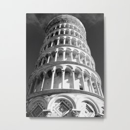 Leaning Tower of Pisa black and white Metal Print