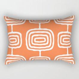 Mid Century Modern Atomic Rings Pattern 771 Orange Rectangular Pillow