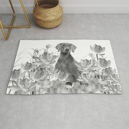 Weimaraner Dog Lotos Flowers - Black & White #society6 #lotos Rug
