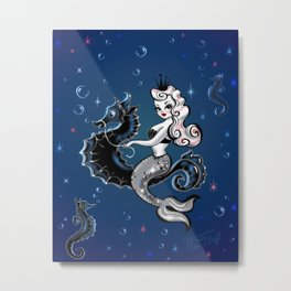 Pearla the Mermaid Riding on a Seahorse Metal Print