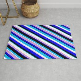 Vibrant Plum, Blue, Black, Deep Sky Blue & White Colored Striped Pattern Rug
