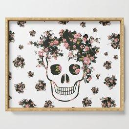 Flower Skull, Floral Skull, Pink Flowers on Human Skull Serving Tray