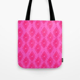 Mudcloth Dotty Diamonds in Neon Pink + Red Tote Bag