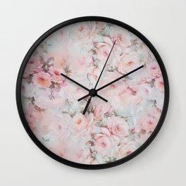 Vintage romantic blush pink teal bohemian roses floral Wall Clock