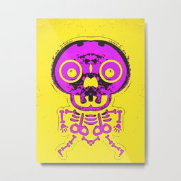 pink bone structure and skull with yellow background Metal Print