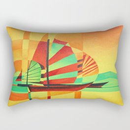 Chinese Junks Sail to Shore  Rectangular Pillow
