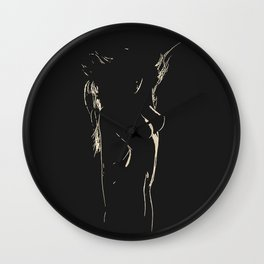 Womans body beauty - the Shapes in Dark, sexy stencil, woman nude, erotic artwork, hot blonde Wall Clock