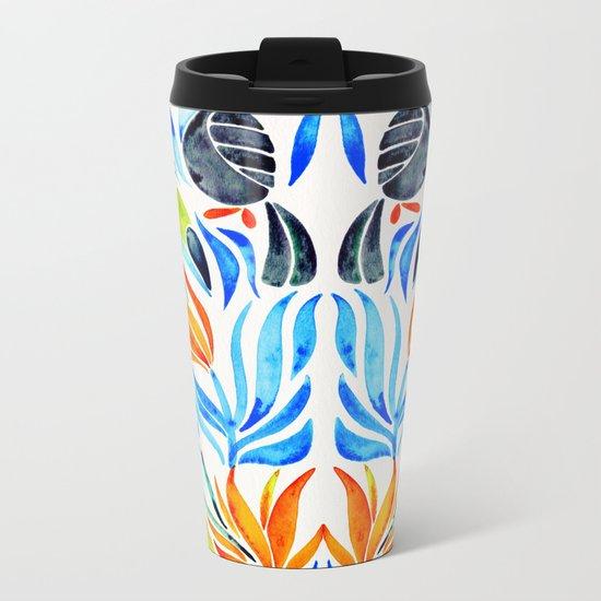 Tropical Toucans – Blue Leaves Metal Travel Mug