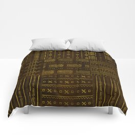 Gold African Tribal Pattern on rich brown texture Comforters