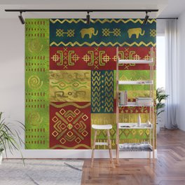 Ethnic African Golden Pattern on color Wall Mural