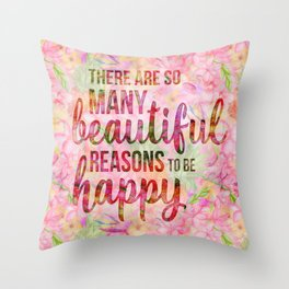 Pink Tropical Flower Typography Illustration Throw Pillow