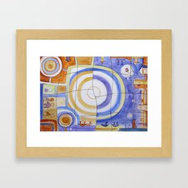 "Puzzle Painting "" Day and Night "" . Mixed media painting . Framed Art Print"