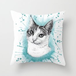 My cat, Musa, with watercolor splatter background Throw Pillow