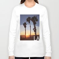 santa monica Long Sleeve T-shirts featuring LA: Santa Monica Beach by Adam Stuart