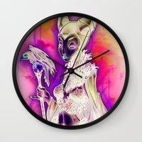 resident evil Wall Clocks featuring EVIL by Tim Shumate