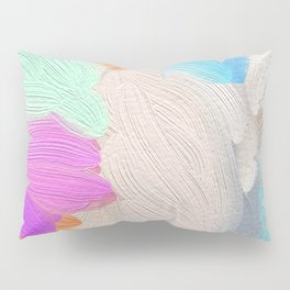 Abstract modern teal pink acrylic paint brushstrokes Pillow Sham