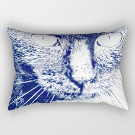 Fluffy's eyes drawing, dark blue and white Rectangular Pillow