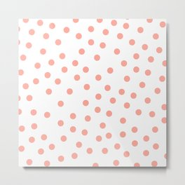 Simply Dots in Salmon Pink on White Metal Print
