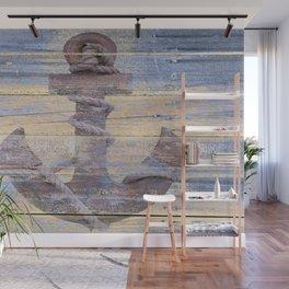 Rusty Anchor Grey Blue Beach Lake House Coastal Home Decor A177 Wall Mural
