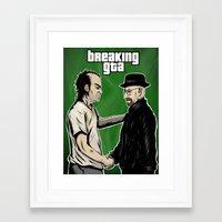 gta v Framed Art Prints featuring Breaking GTA by Samanfuu