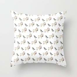 George the Frenchie and a NYC Pigeon Throw Pillow