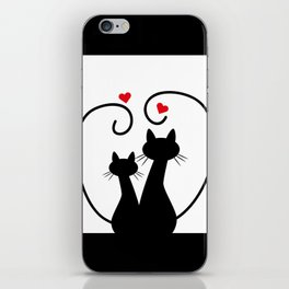 Silhuette Two Cats n' Hearts iPhone Skin