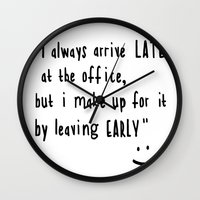 the office Wall Clocks featuring Office hours by John Medbury (LAZY J Studios)