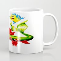 little mermaid Mugs featuring LITTLE MERMAID by HaMaD ArT