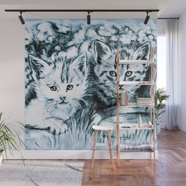 Blue Baby Cats Wall Mural