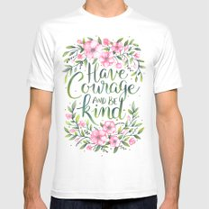 Have Courage and Be Kind White X-LARGE Mens Fitted Tee