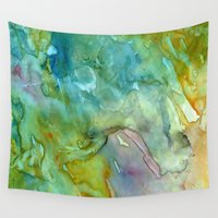 stained glass Wall Tapestries featuring Stained Glass by Rosie Brown